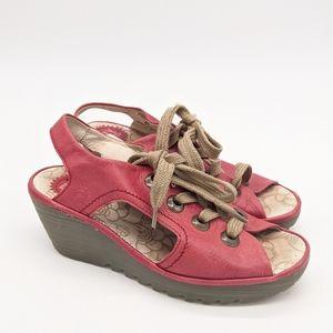 FLY London Scarlett Cut Open Wedge Lace Sandals